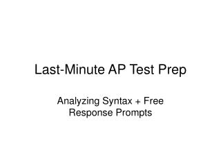 Last-Minute AP Test Prep