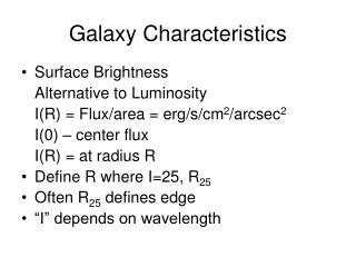 Galaxy Characteristics
