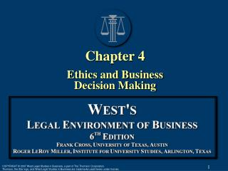 Chapter 4 Ethics and Business Decision Making
