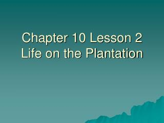 Chapter 10 Lesson 2 Life on the Plantation