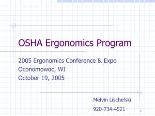 OSHA Ergonomics Program