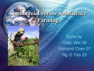 Commercial versus Subsistence Farming