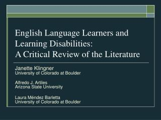 English Language Learners and Learning Disabilities: A Critical Review of the Literature