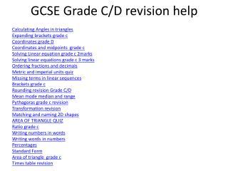 GCSE Grade C/D revision help