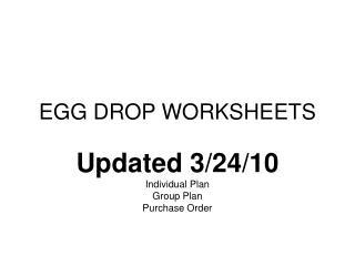 EGG DROP WORKSHEETS