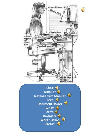 Chair Monitor Distance from Monitor Feet Document Holder Wrists Arms Keyboard Work Surface Breaks