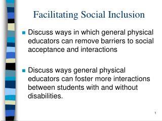 Facilitating Social Inclusion