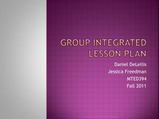 Group Integrated Lesson Plan
