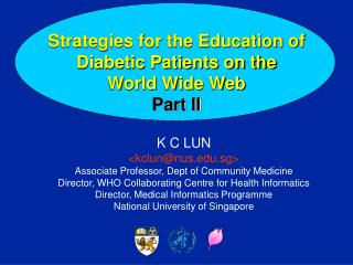 Strategies for the Education of Diabetic Patients on the  World Wide Web Part II