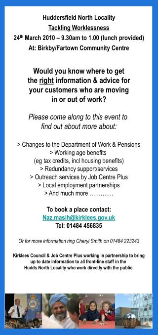 Huddersfield North Locality Tackling Worklessness
