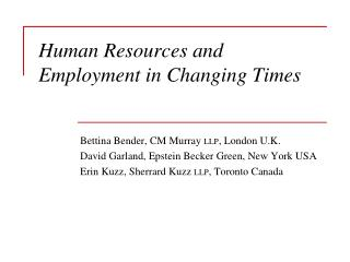 Human Resources and Employment in Changing Times