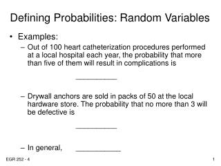 Defining Probabilities: Random Variables