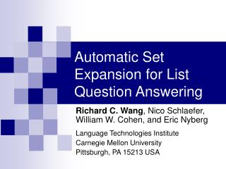 Automatic Set Expansion for List Question Answering