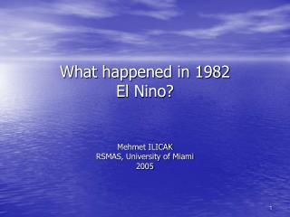 What happened in 1982  El Nino