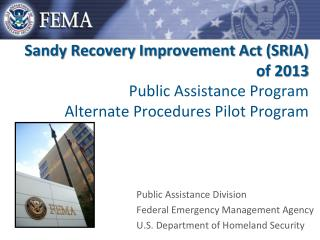 Public  Assistance  Division Federal Emergency Management Agency