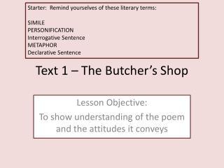 Text 1 – The Butcher's Shop