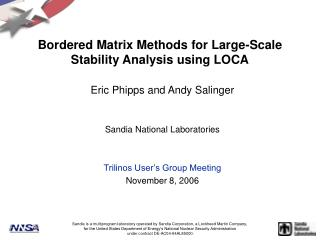 Bordered Matrix Methods for Large-Scale Stability Analysis using LOCA