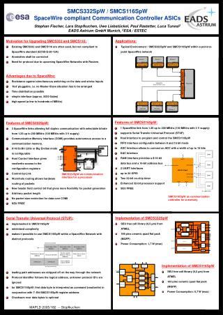 SMCS332SpW / SMCS116SpW SpaceWire compliant Communication Controller ASICs