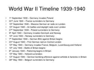 World War II Timeline 1939-1940