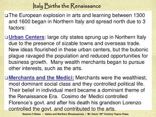 Italy Births the Renaissance