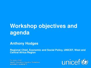 Workshop objectives and agenda