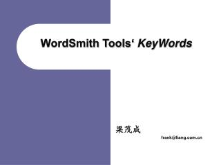 WordSmith Tools'  KeyWords