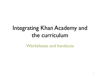 Integrating Khan Academy and the curriculum
