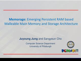 Memorage :  Emerging Persistent RAM based Malleable Main Memory and Storage Architecture