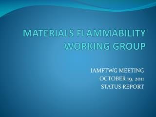 MATERIALS FLAMMABILITY WORKING GROUP