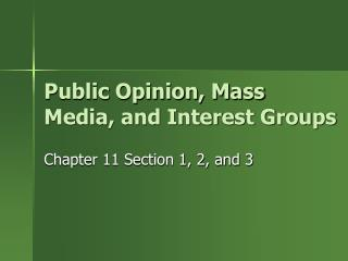 Public Opinion, Mass Media, and Interest Groups