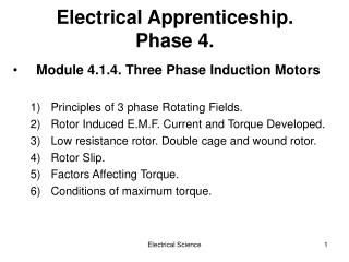 Electrical Apprenticeship. Phase 4.