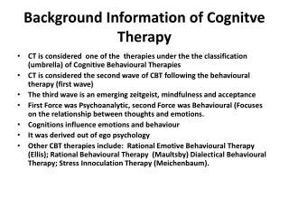 Background Information of Cognitve Therapy