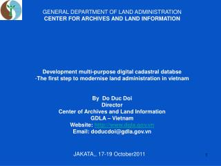 GENERAL DEPARTMENT OF LAND ADMINISTRATION  CENTER FOR ARCHIVES AND LAND INFORMATION