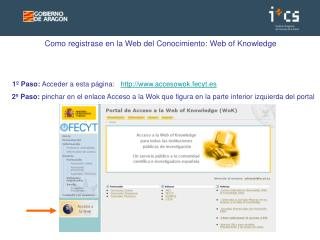 Como registrase en la Web del Conocimiento: Web of Knowledge