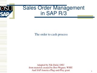 Sales Order Management  in SAP R/3