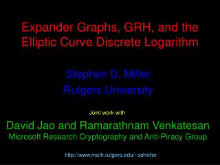 Expander Graphs, GRH, and the Elliptic Curve Discrete Logarithm
