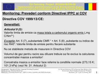 Directiva COV 1999/13/CE: