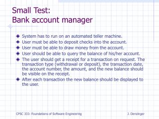 Small Test: Bank account manager