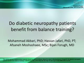 Do diabetic neuropathy patients benefit from balance training?