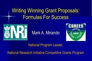 Writing Winning Grant Proposals: Formulas For Success