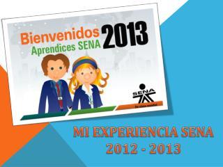 MI EXPERIENCIA SENA  2012 - 2013