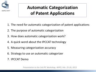 Automatic Categorization of Patent Applications