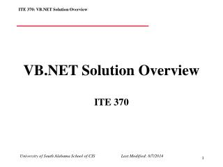 VB.NET Solution Overview