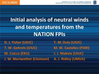Initial analysis of neutral winds and temperatures from the NATION FPIs