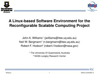 A Linux-based Software Environment for the Reconfigurable Scalable Computing Project