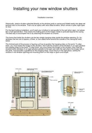Installing your new window shutters