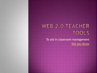 Web 2.0 Teacher Tools