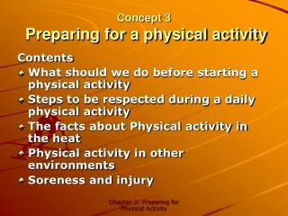 Concept 3  Preparing for a physical activity