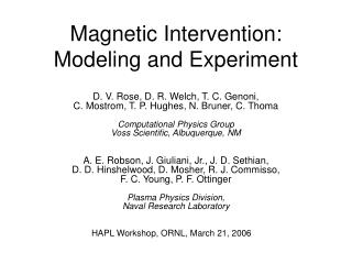 Magnetic Intervention: Modeling and Experiment