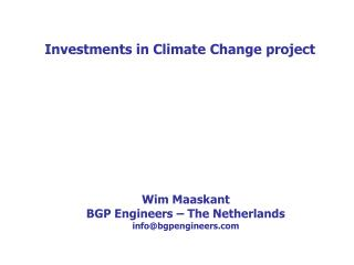 Investments in Climate Change project
